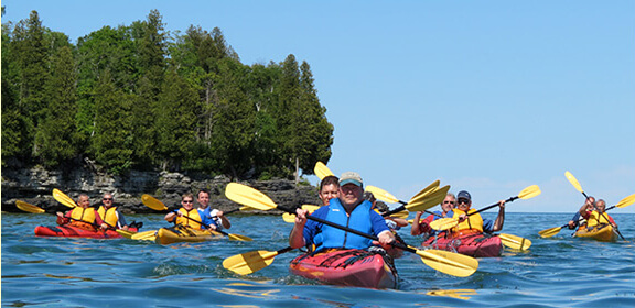 Group kayaking.
